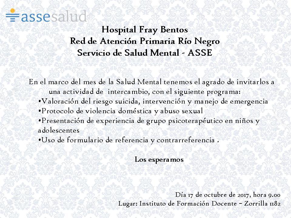 ASSE - Actividad de intercambio en Río Negro, en el marco del mes de ...